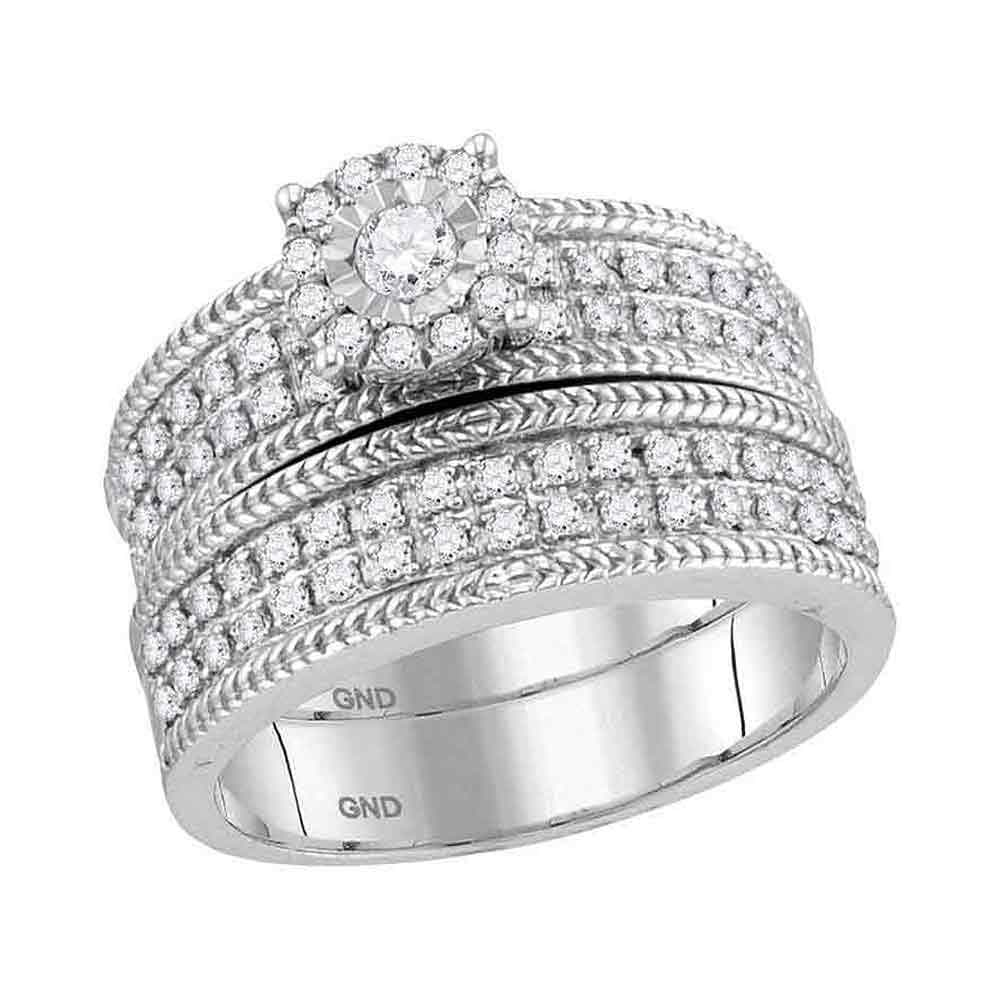 10kt White Gold His & Hers Round Diamond Solitaire Wheat-accent Matching Bridal Wedding Ring Set 7/8 Cttw