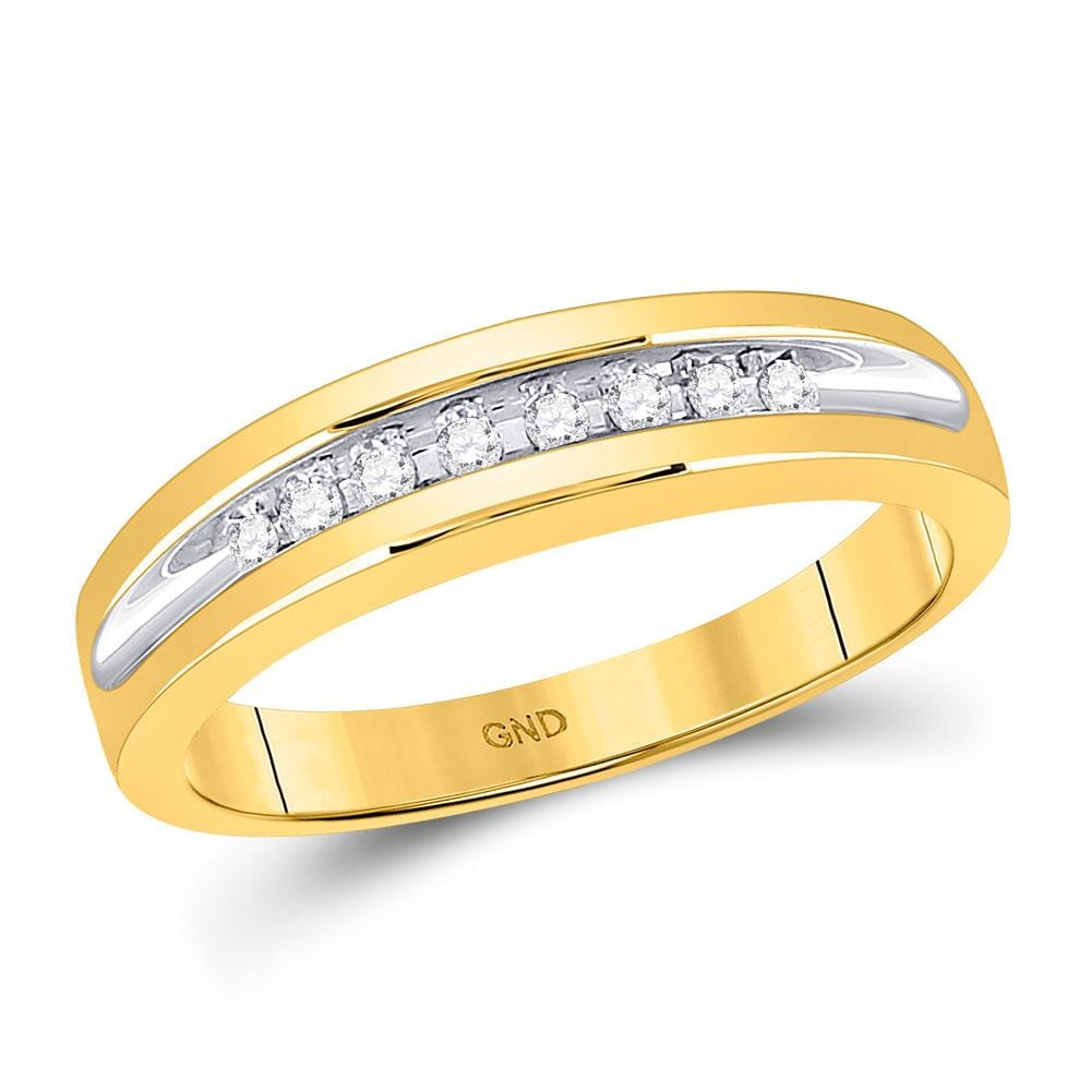 10kt Yellow Gold His & Hers Round Diamond Solitaire Matching Bridal Wedding Ring Band Set 5/8 Cttw