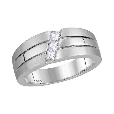 14kt White Gold Mens Princess Diamond 3-stone Wedding Ring Band 1/3 Cttw