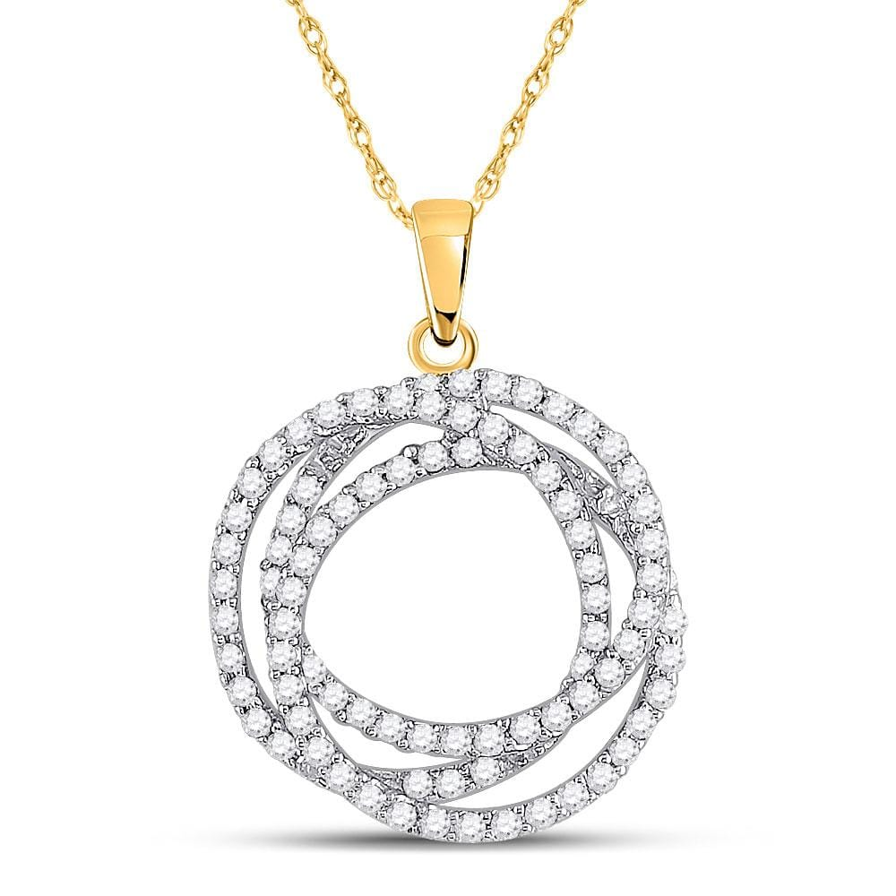 10kt Yellow Gold Womens Round Diamond Circle Pendant 5/8 Cttw