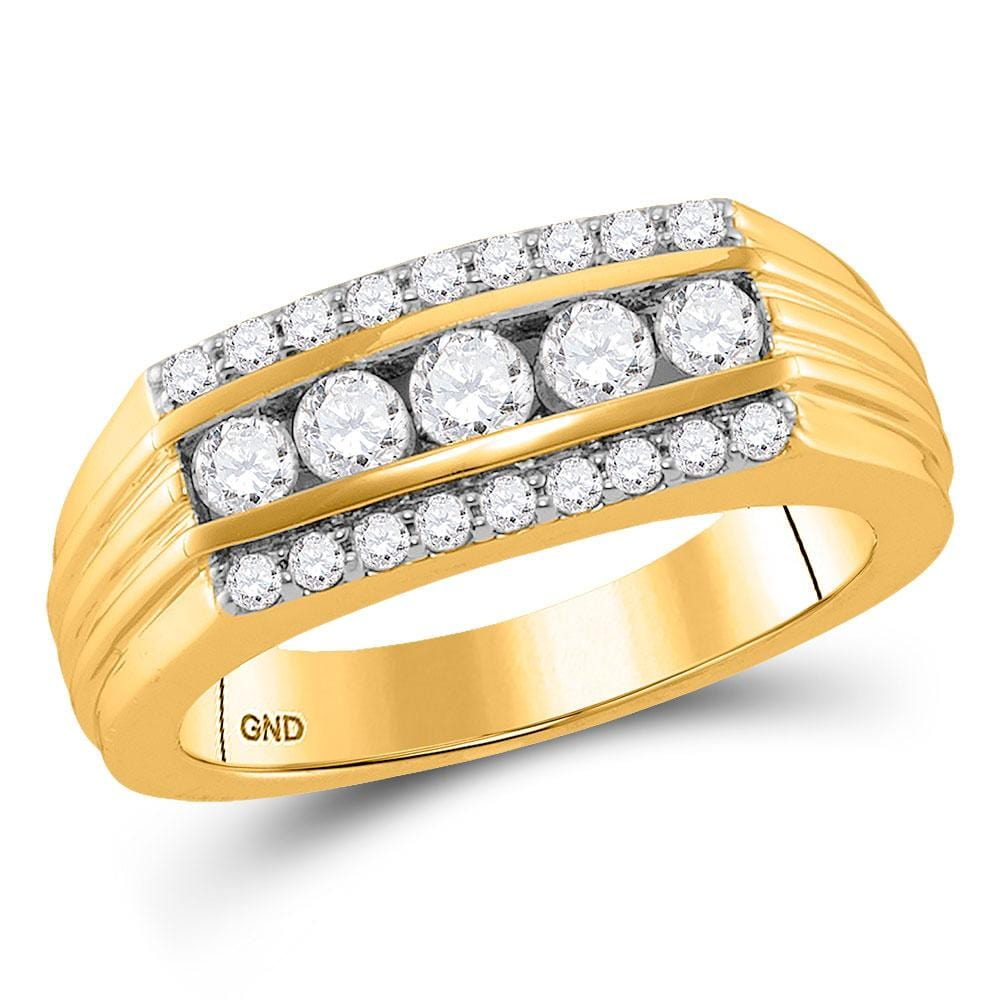 14kt Yellow Gold Mens Round Diamond Wedding Machine-Set Band Ring 1 Cttw
