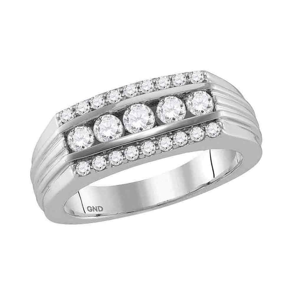 14kt White Gold Mens Round Diamond 5-Stone Band Ring 1 Cttw
