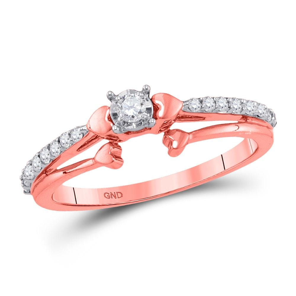 10kt Rose Gold Womens Round Diamond Solitaire Promise Ring 1/4 Cttw