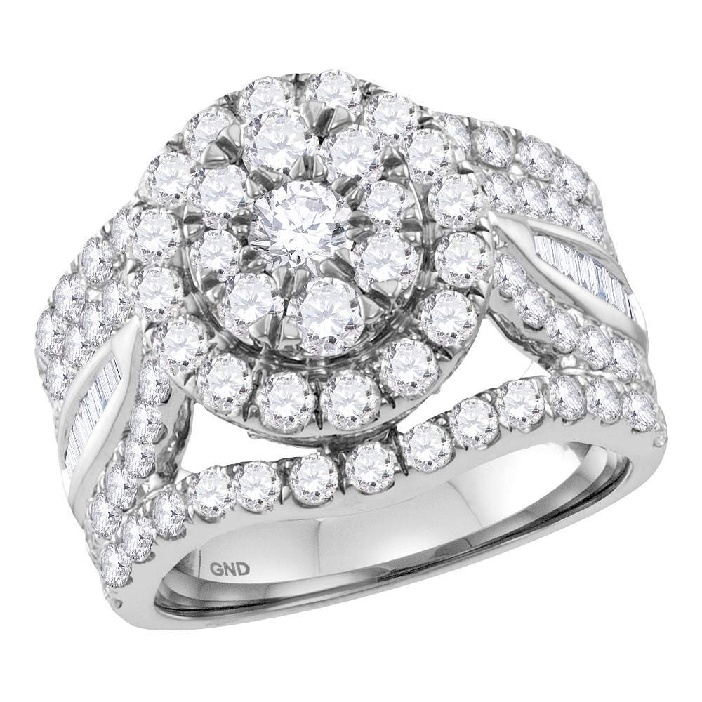 14kt White Gold Womens Round Diamond Flower Cluster Bridal Wedding Engagement Ring 3-1/2 Cttw