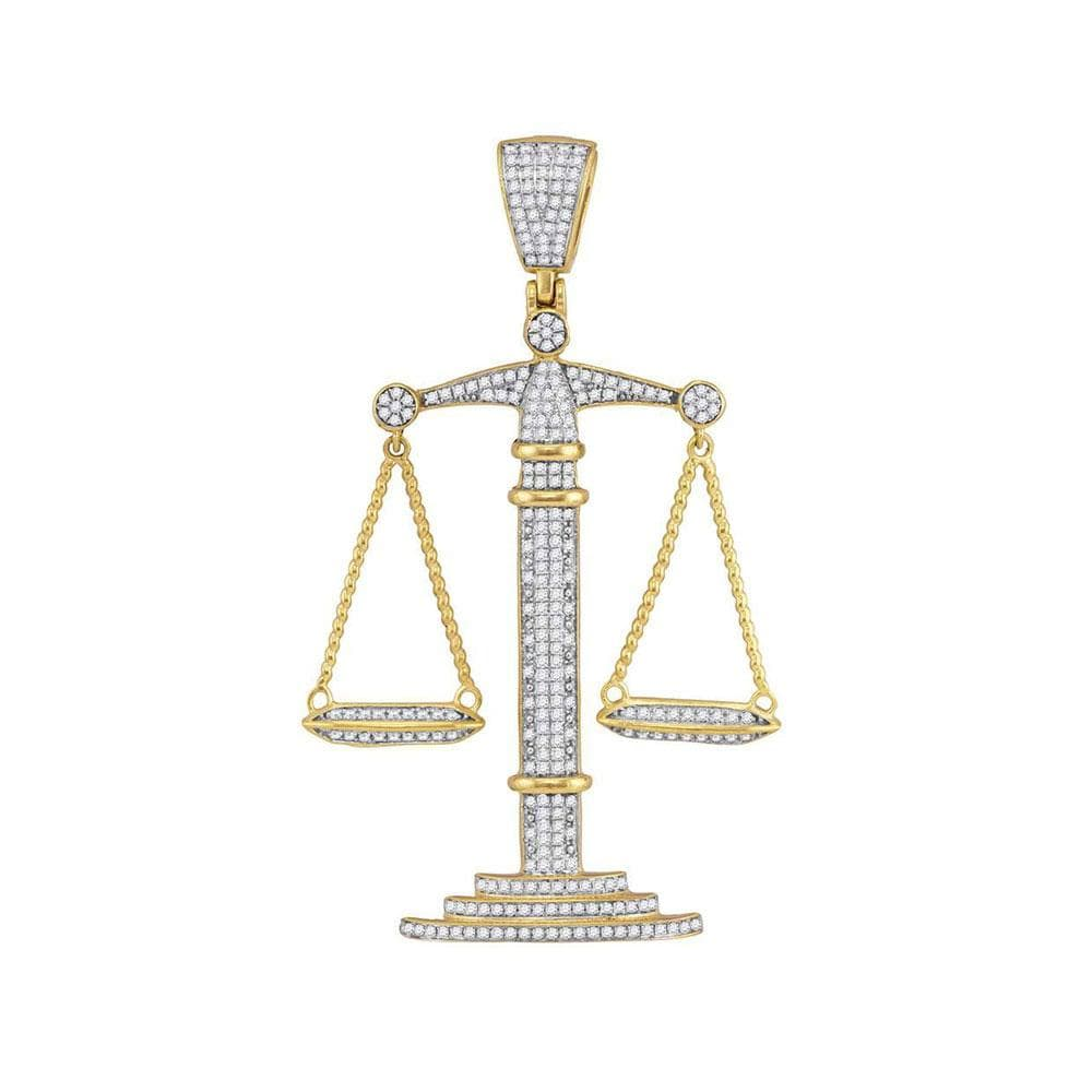10kt Yellow Gold Mens Round Diamond Scales of Justice Charm Pendant 1 Cttw