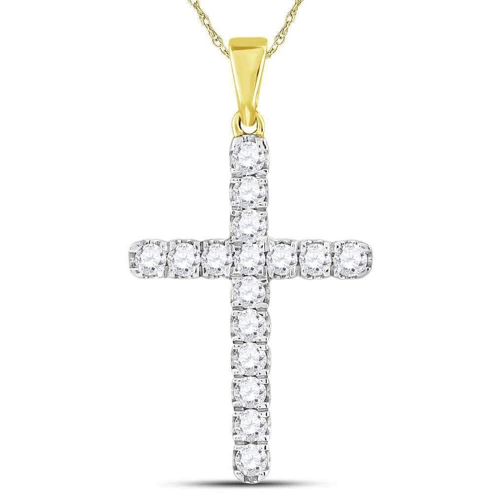 10kt Yellow Gold Mens Round Diamond Cross Charm Pendant 1 Cttw
