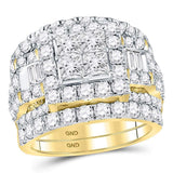 14kt Yellow Gold Princess Diamond Bridal Wedding Ring Band Set 4-1/2 Cttw