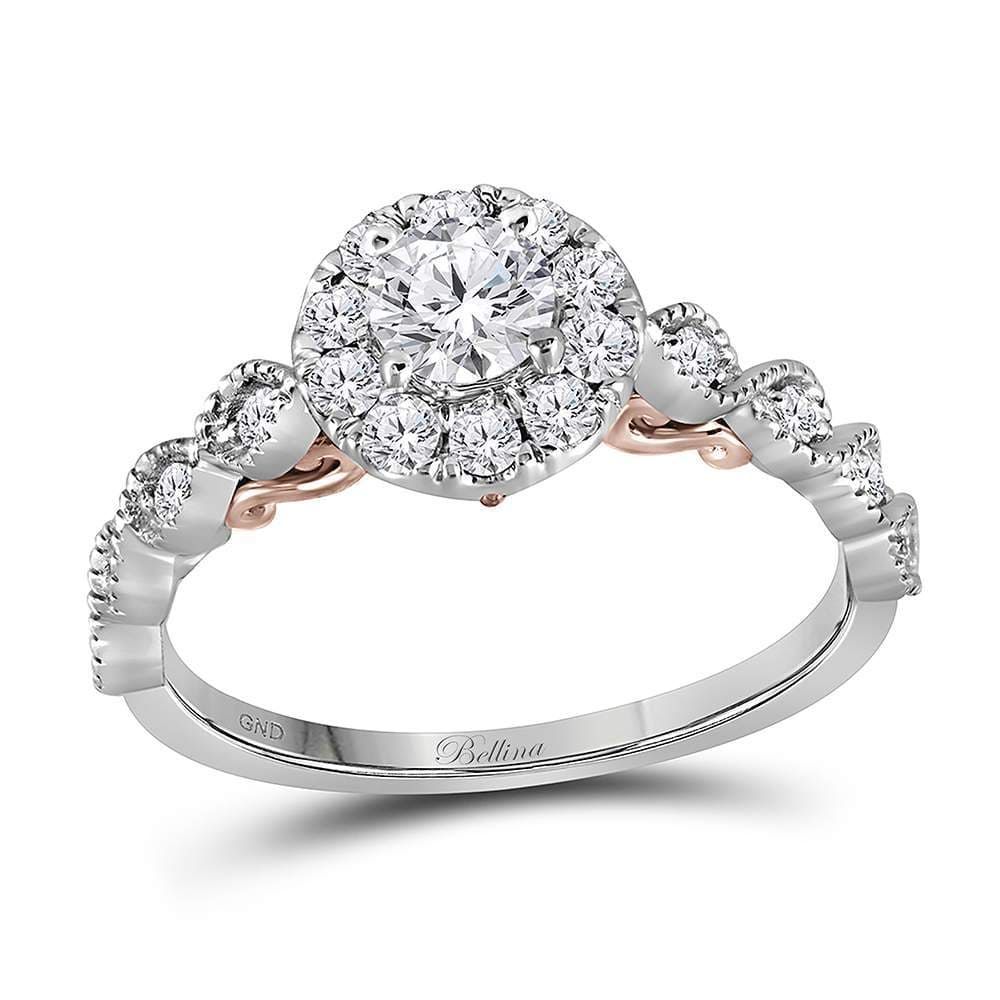 14kt Two-tone White Rose Gold Womens Round Diamond Solitaire Bellina Bridal Wedding Engagement Ring 3/4 Cttw