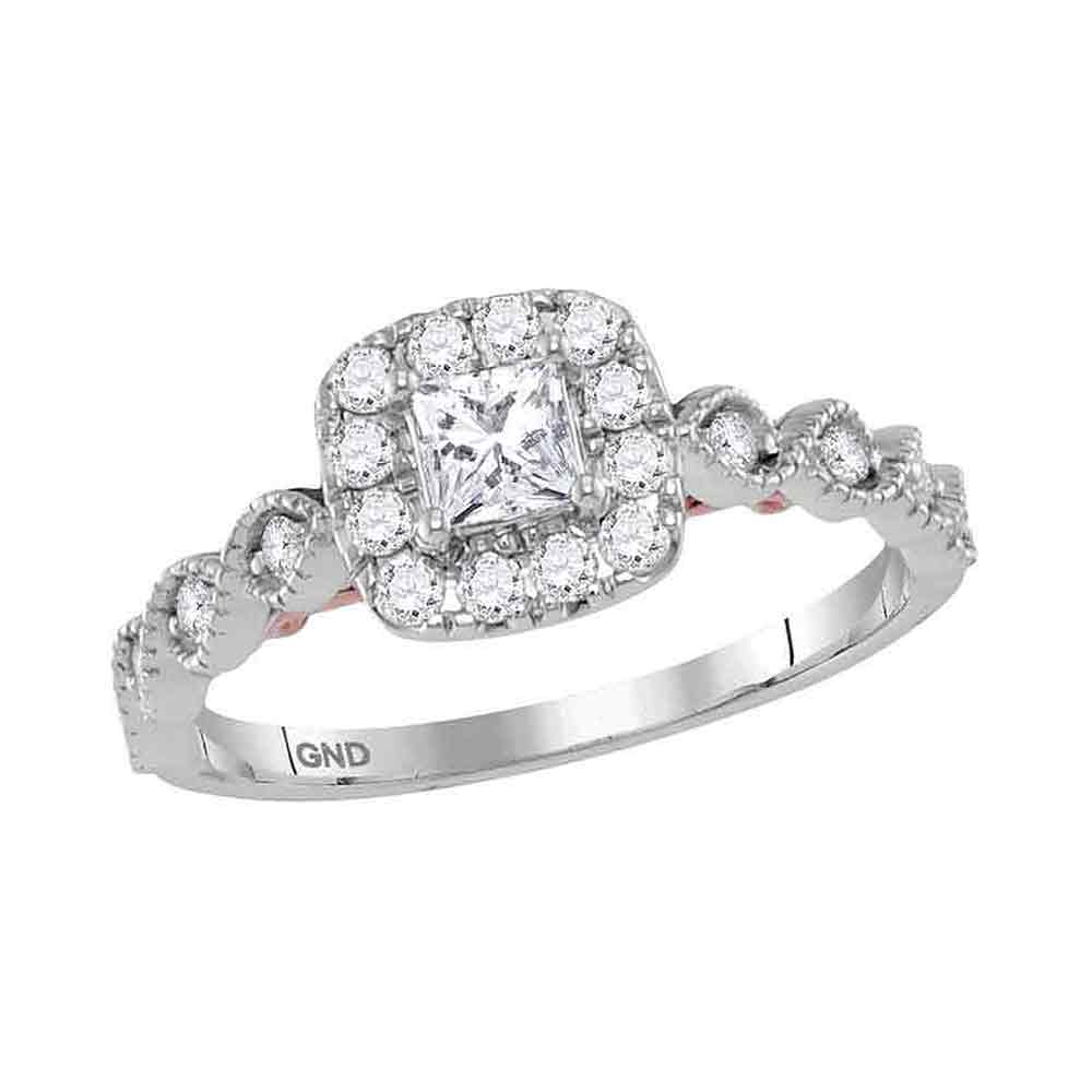 3921ec7cf08e5 14kt Two-tone White Rose Gold Womens Princess Diamond Solitaire Bellina  Bridal Wedding Engagement Ring 3/4 Cttw
