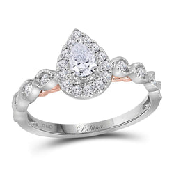 14kt Two-tone White Rose Gold Womens Pear Diamond Teardrop Bellina Bridal Wedding Engagement Ring 3/4 Cttw