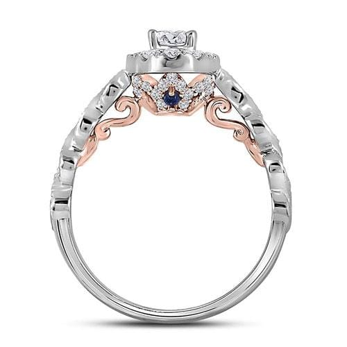 14kt Two-tone White Rose Gold Womens Oval Diamond Solitaire Bellina Bridal Wedding Engagement Ring 3/4 Cttw