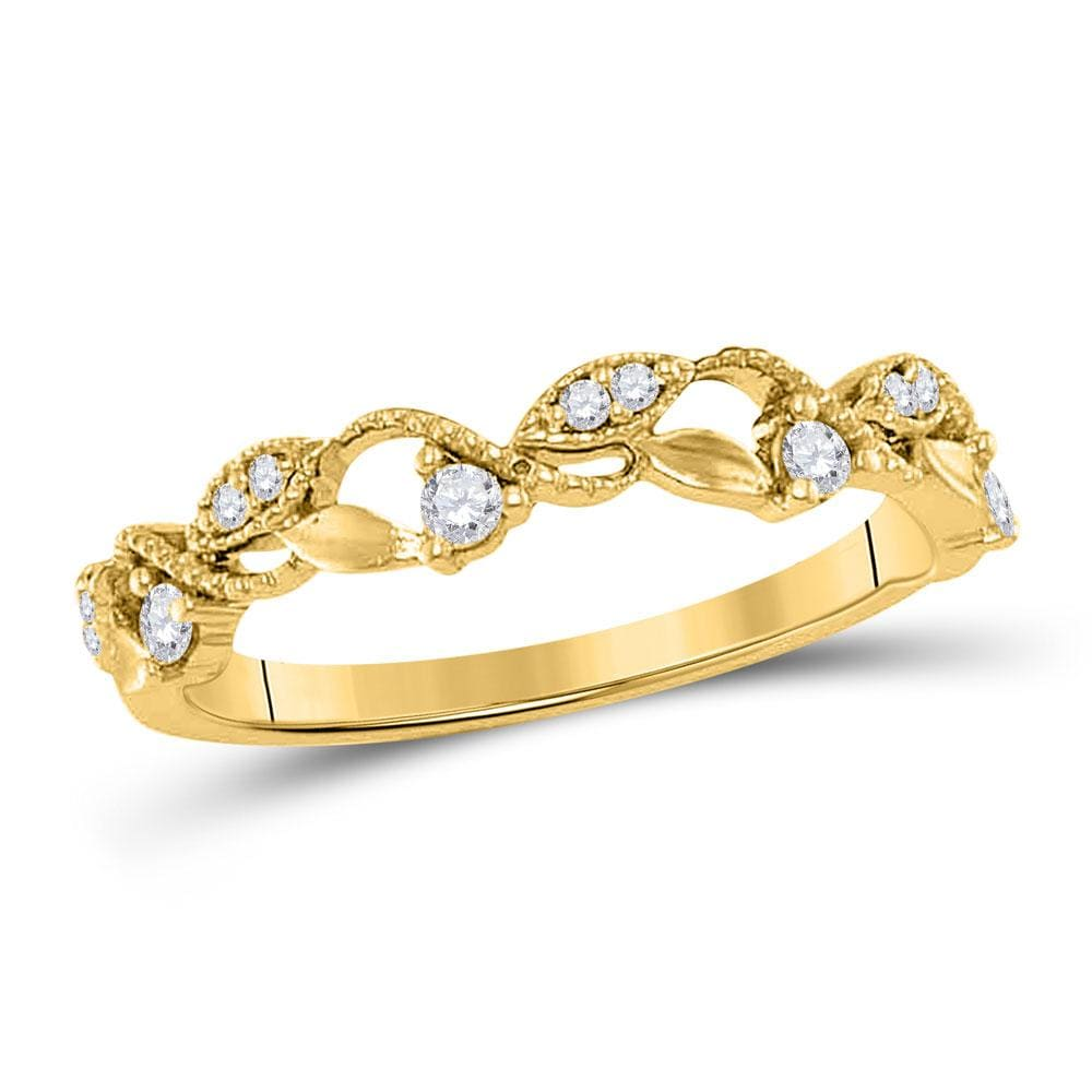 10kt Yellow Gold Womens Round Diamond Vine Stackable Band Ring 1/6 Cttw