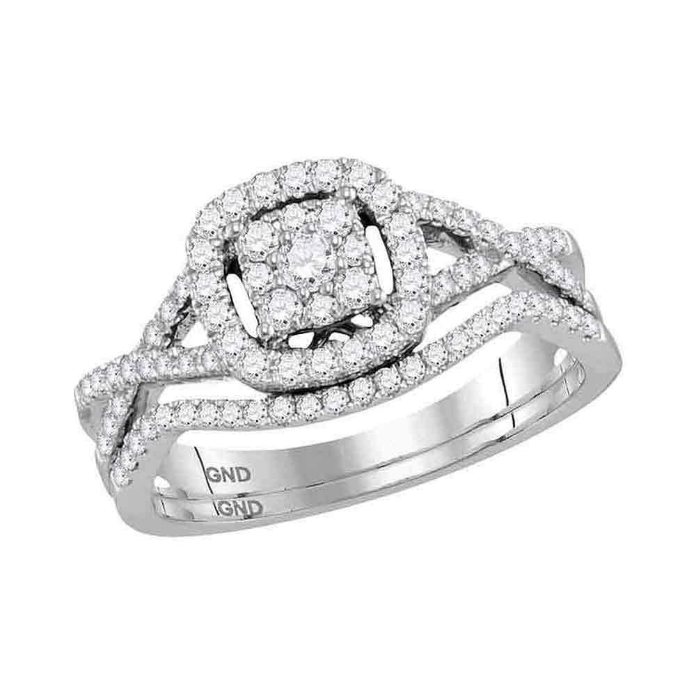 14kt White Gold Womens Round Diamond Bridal Wedding Ring Band Set 1/2 Cttw