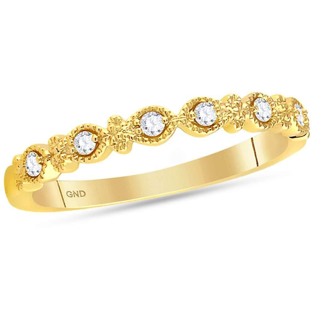 14kt Yellow Gold Womens Round Diamond Milgrain Stackable Band Ring 1/10 Cttw
