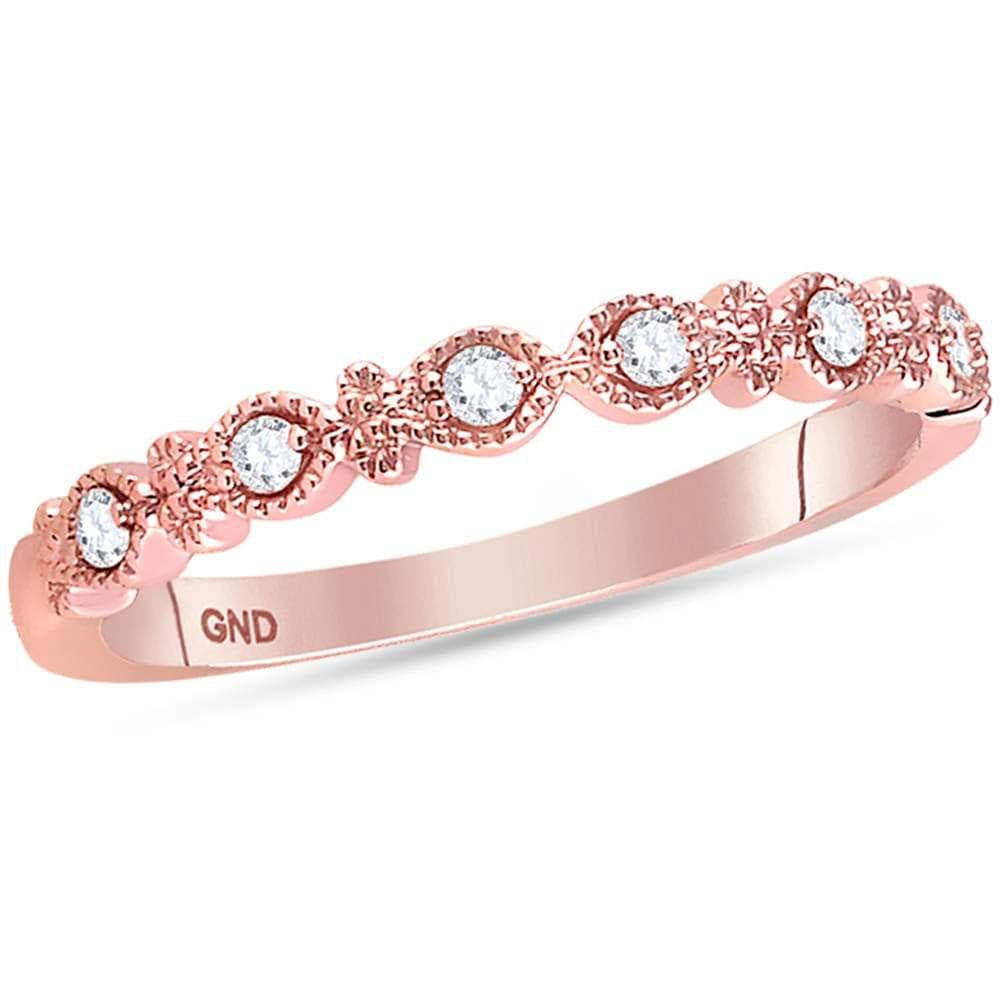 14kt Rose Gold Womens Round Diamond Milgrain Stackable Band Ring 1/10 Cttw