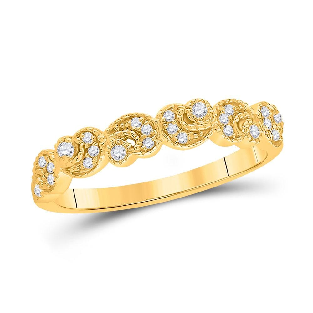 14kt Yellow Gold Womens Round Diamond Crescent Stackable Band Ring 1/10 Cttw