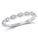 14kt White Gold Womens Round Diamond Classic Stackable Band Ring 1/10 Cttw