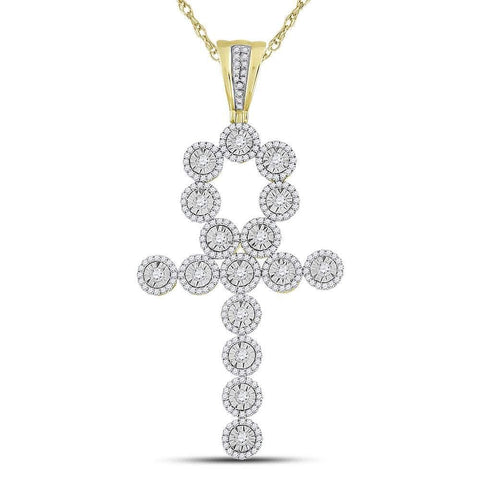 14kt Yellow Gold Mens Round Diamond Ankh Cross Charm Pendant 2.75 Cttw