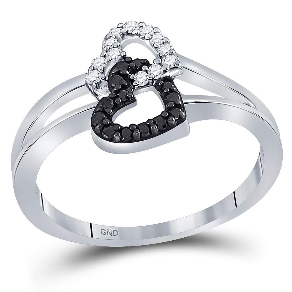 Sterling Silver Womens Round Black Color Enhanced Diamond Double Heart Ring 1/6 Cttw - Size 10