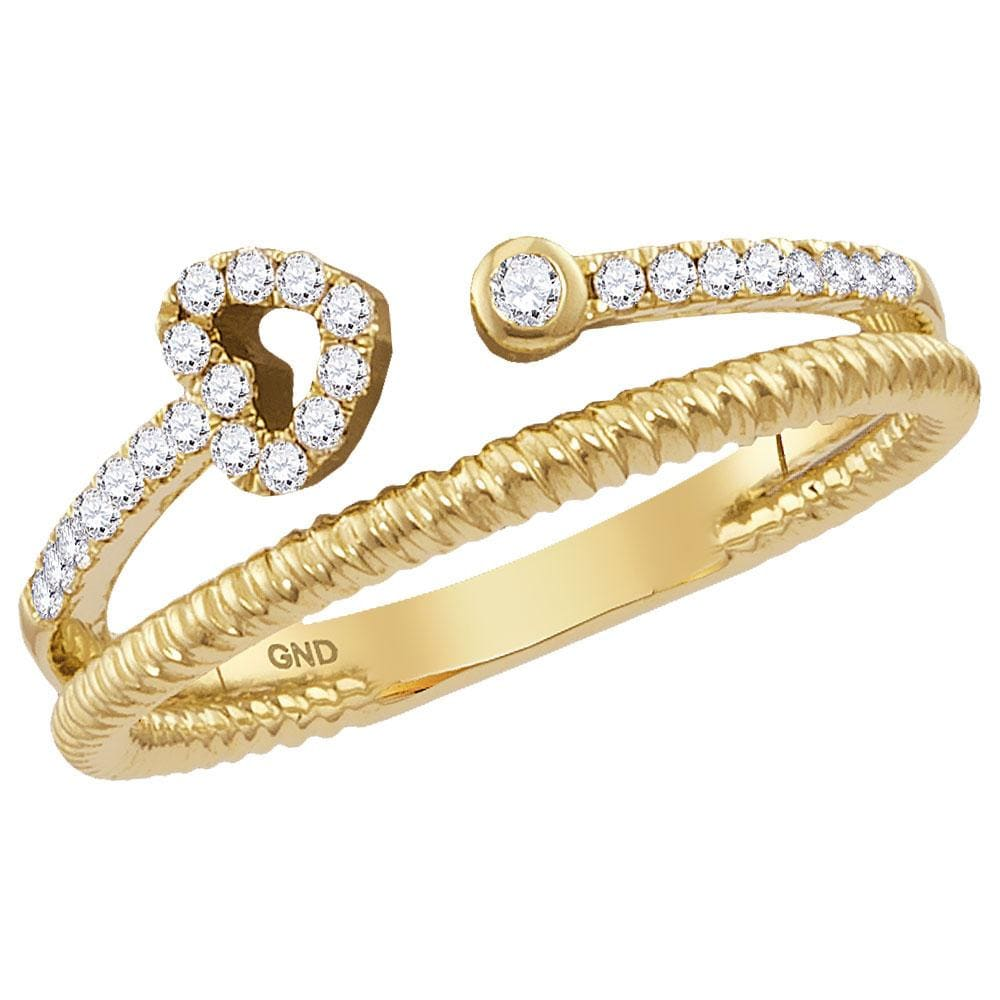 14kt Yellow Gold Womens Round Diamond Heart Stackable Band Ring 1/ Cttw