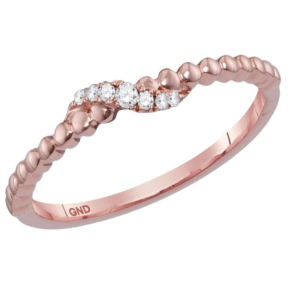 14kt Rose Gold Womens Round Diamond Crossover Stackable Band Ring 1/20 Cttw
