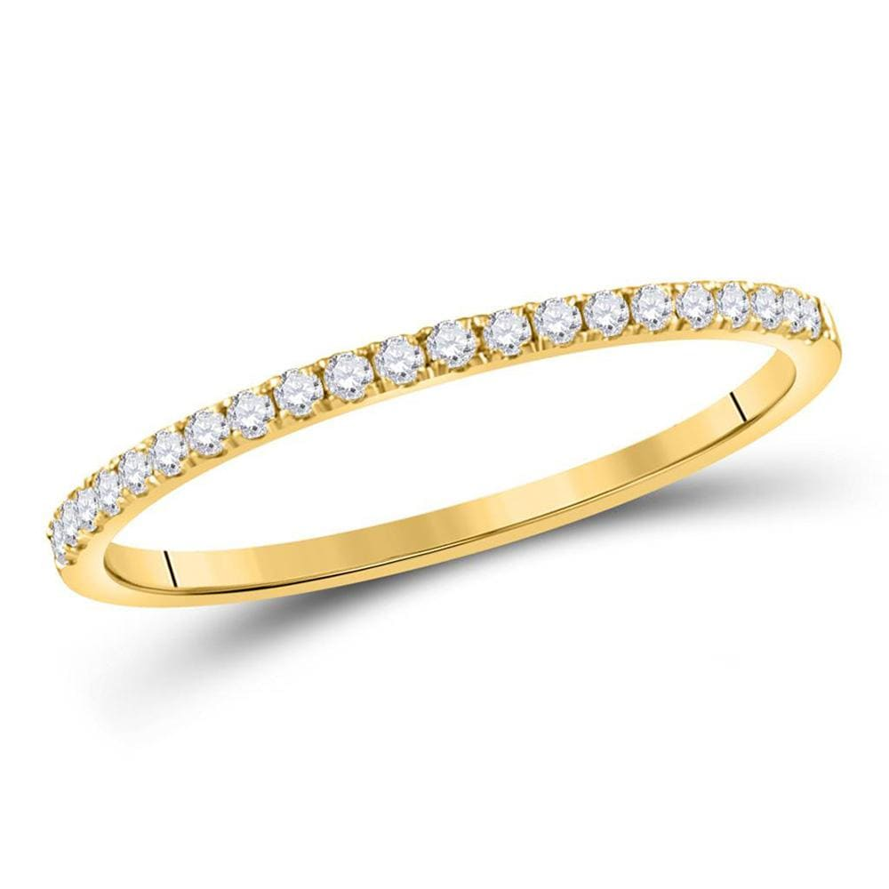 14kt Yellow Gold Womens Round Diamond Stackable Band Ring 1/6 Cttw
