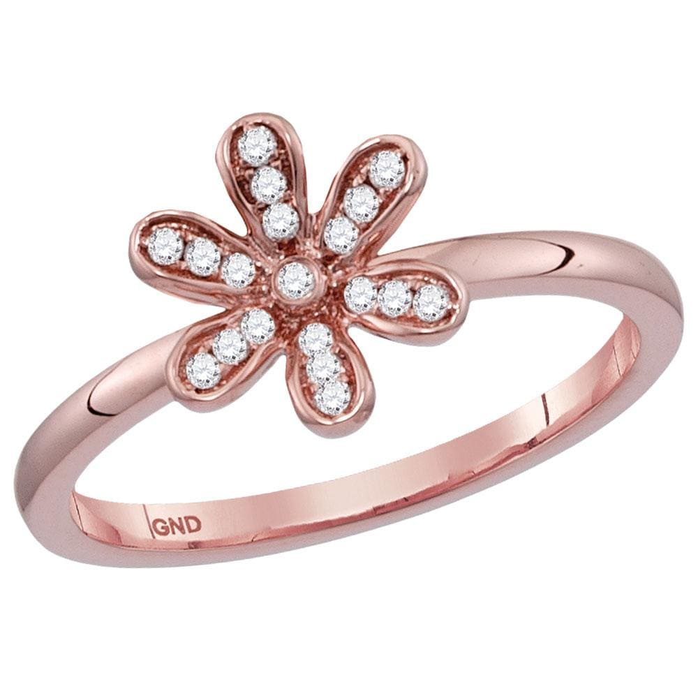 14kt Rose Gold Womens Round Diamond Flower Floral Stackable Band Ring 1/8 Cttw