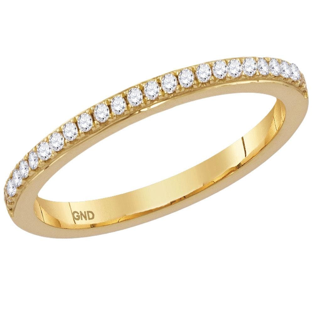 14kt Yellow Gold Womens Round Diamond Single Row Stackable Band Ring 1/8 Cttw