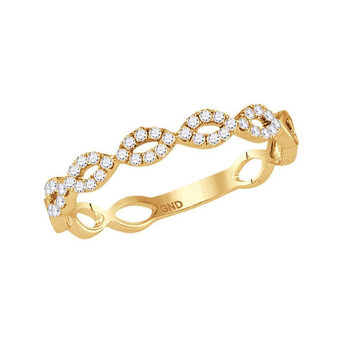 14kt Yellow Gold Womens Round Diamond Contoured Stackable Band Ring 1/5 Cttw