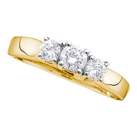 14kt Yellow Gold Womens Round Diamond 3-stone Bridal Wedding Engagement Ring 3/4 Cttw