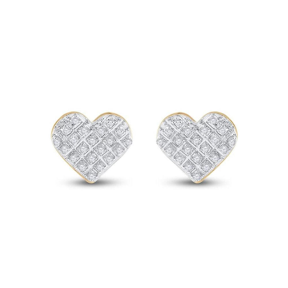 10kt Yellow Gold Womens Round Diamond Heart Earrings 1/6 Cttw