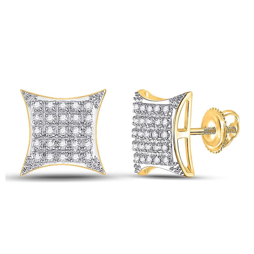 10kt Yellow Gold Womens Round Diamond Square Kite Stud Earrings 1/6 Cttw
