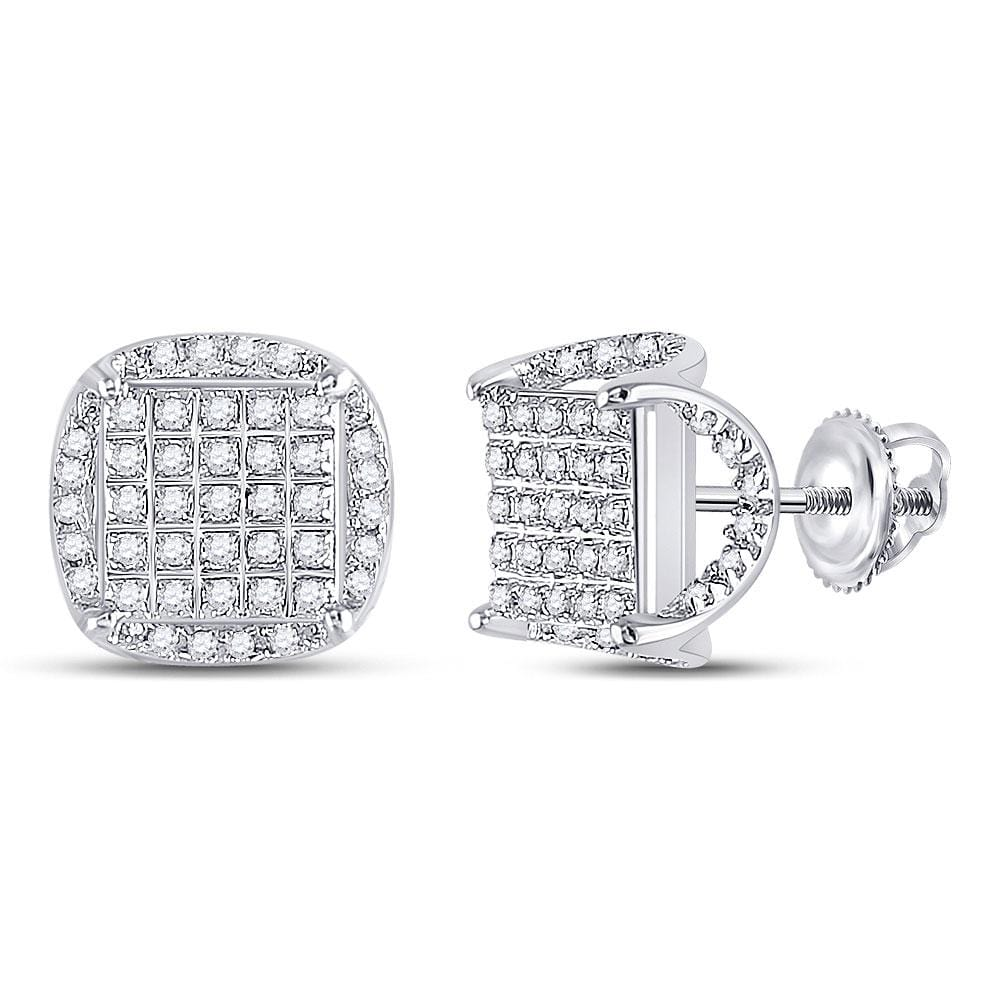 10kt White Gold Mens Round Diamond Square Stud Earrings 1/3 Cttw