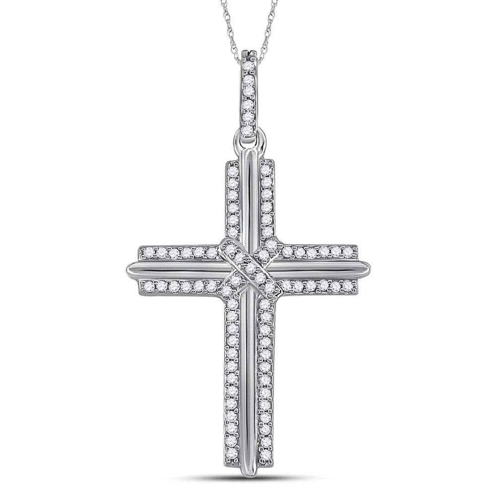10kt White Gold Mens Round Diamond Cross Charm Pendant 1/5 Cttw
