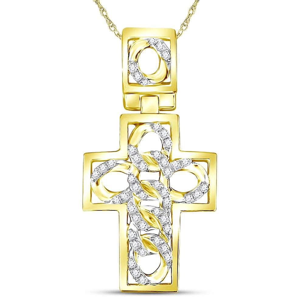10kt Yellow Gold Mens Round Diamond Curb Link Cuban Cross Charm Pendant 1/3 Cttw