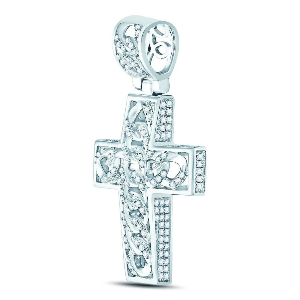 10kt White Gold Mens Round Diamond Curb Link Cross Charm Pendant 5/8 Cttw