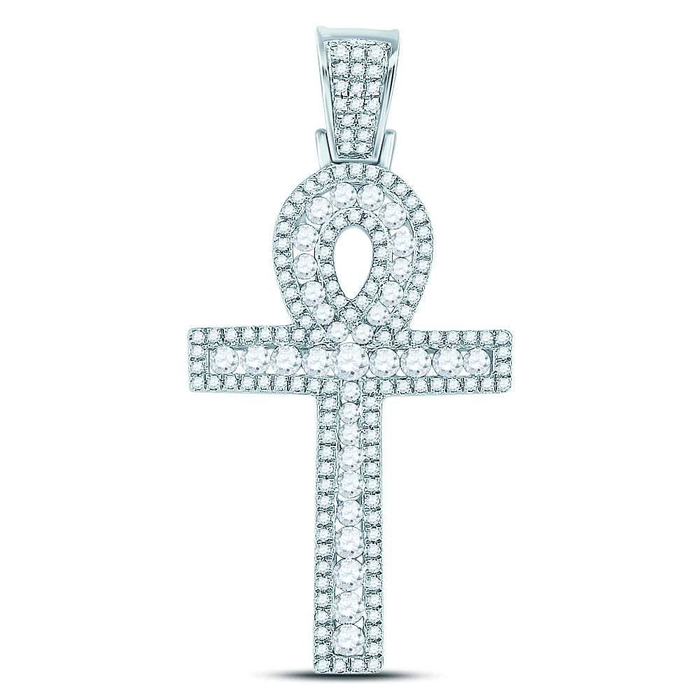10kt White Gold Mens Round Diamond Ankh Cross Charm Pendant 1.00 Cttw