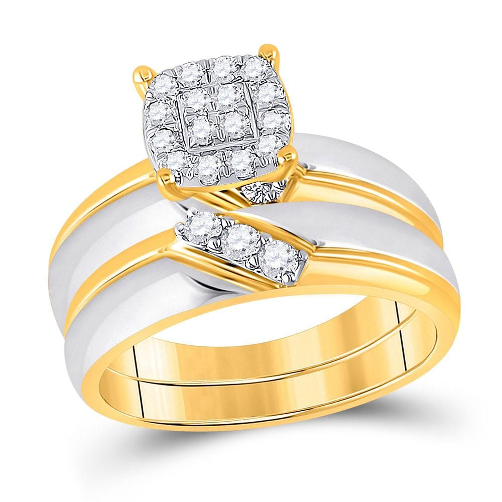 10kt Two-tone Gold His Hers Round Diamond Cluster Matching Wedding Set 1/2 Cttw