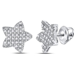 10kt White Gold Mens Round Diamond Star Cluster Earrings 1/6 Cttw
