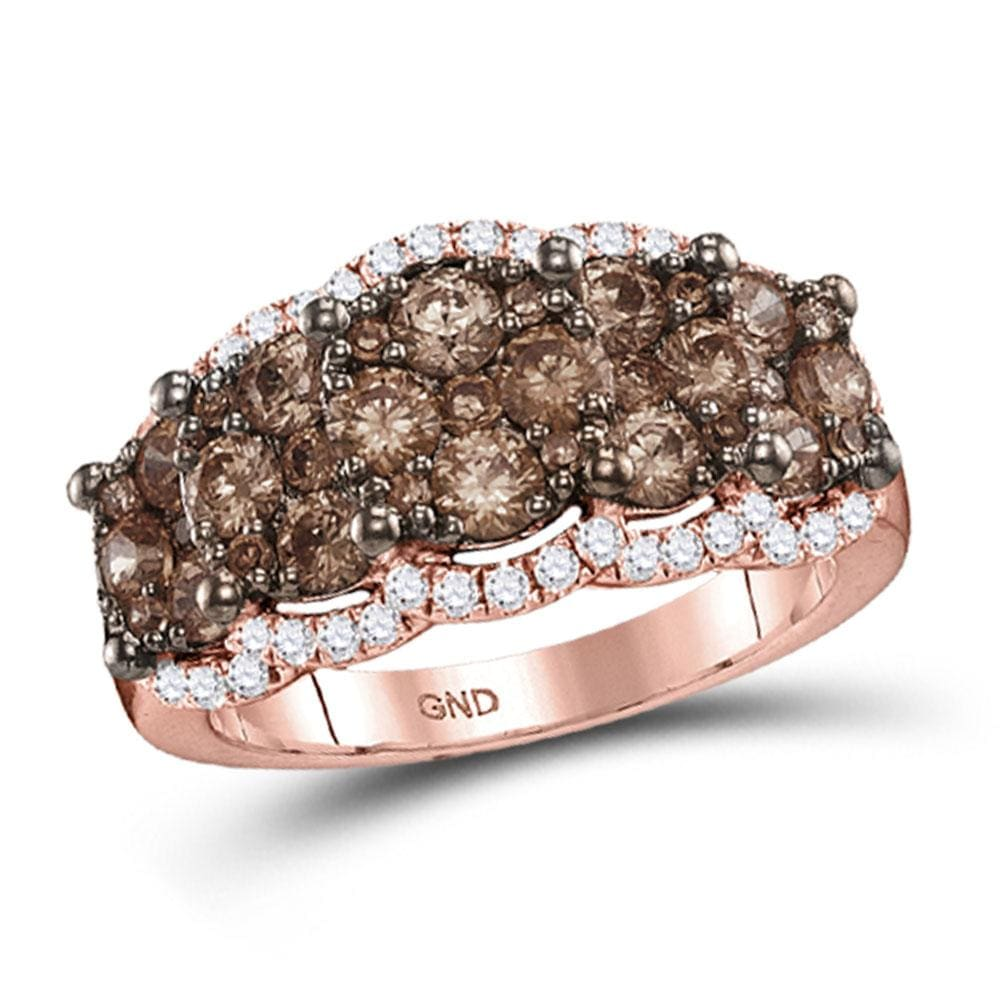 14kt Rose Gold Womens Round Brown Diamond Band Ring 2 Cttw