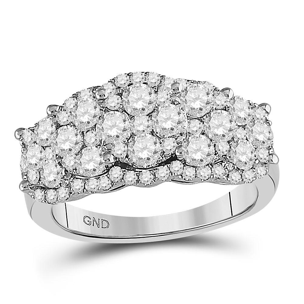14kt White Gold Womens Round Diamond Vintage-Inspired Fashion Ring 2 Cttw
