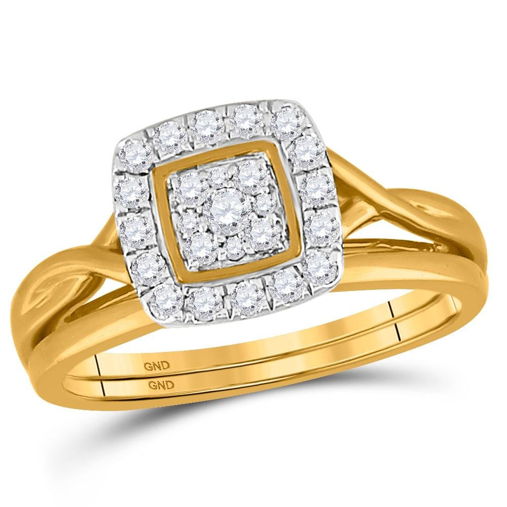 10kt Yellow Gold Womens Round Diamond Bridal Wedding Engagement Ring Band Set 1/3 Cttw