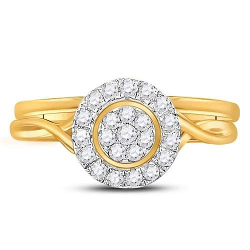 10kt Yellow Gold Womens Round Diamond Cluster Bridal Wedding Engagement Ring Band Set 1/3 Cttw
