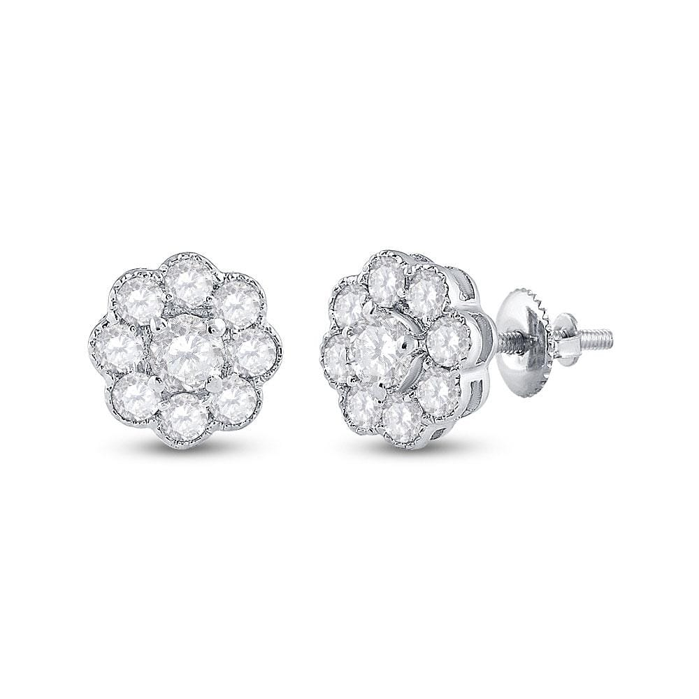 14kt White Gold Womens Round Diamond Cluster Earrings 3/4 Cttw