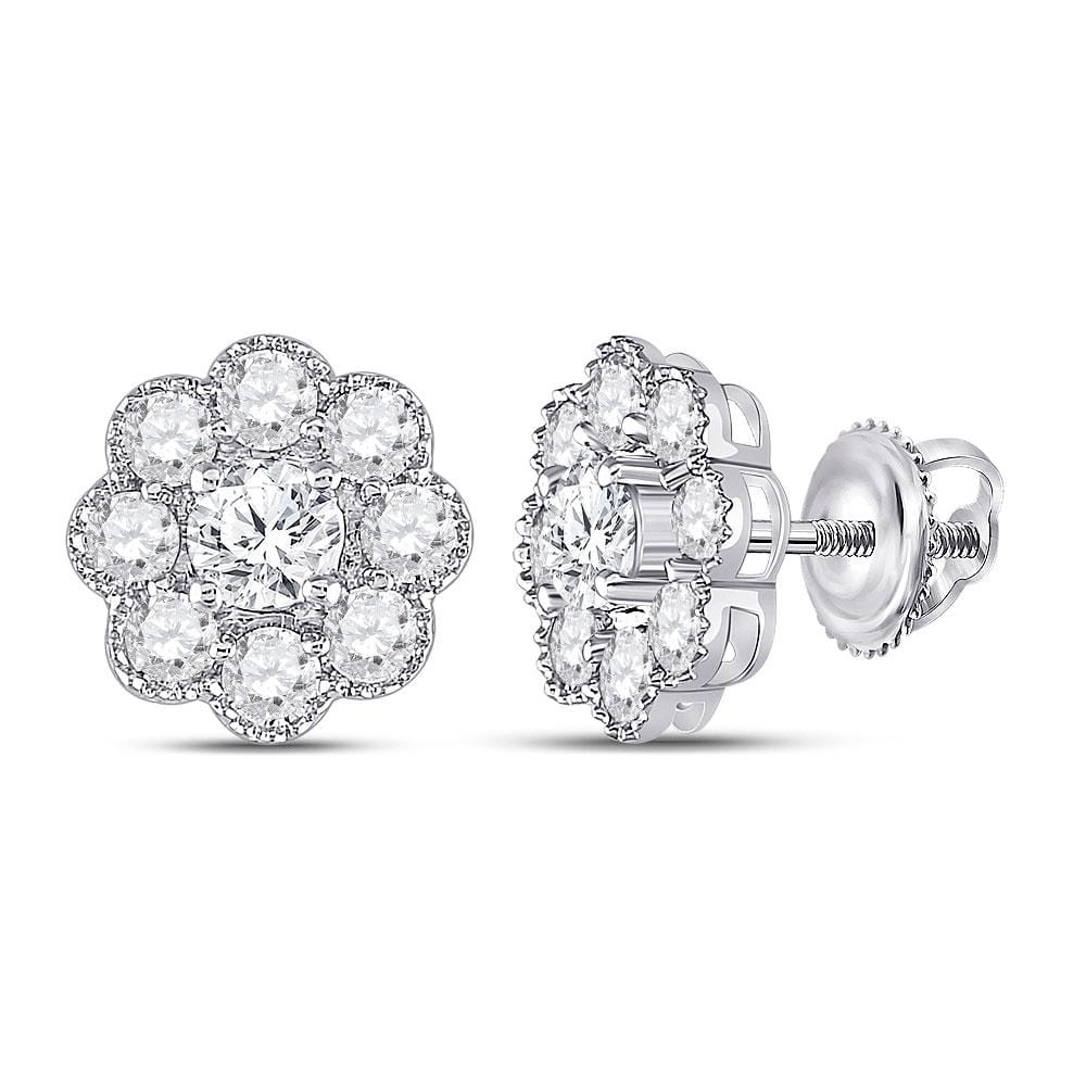 14kt White Gold Womens Round Diamond Flower Cluster Earrings 2 Cttw