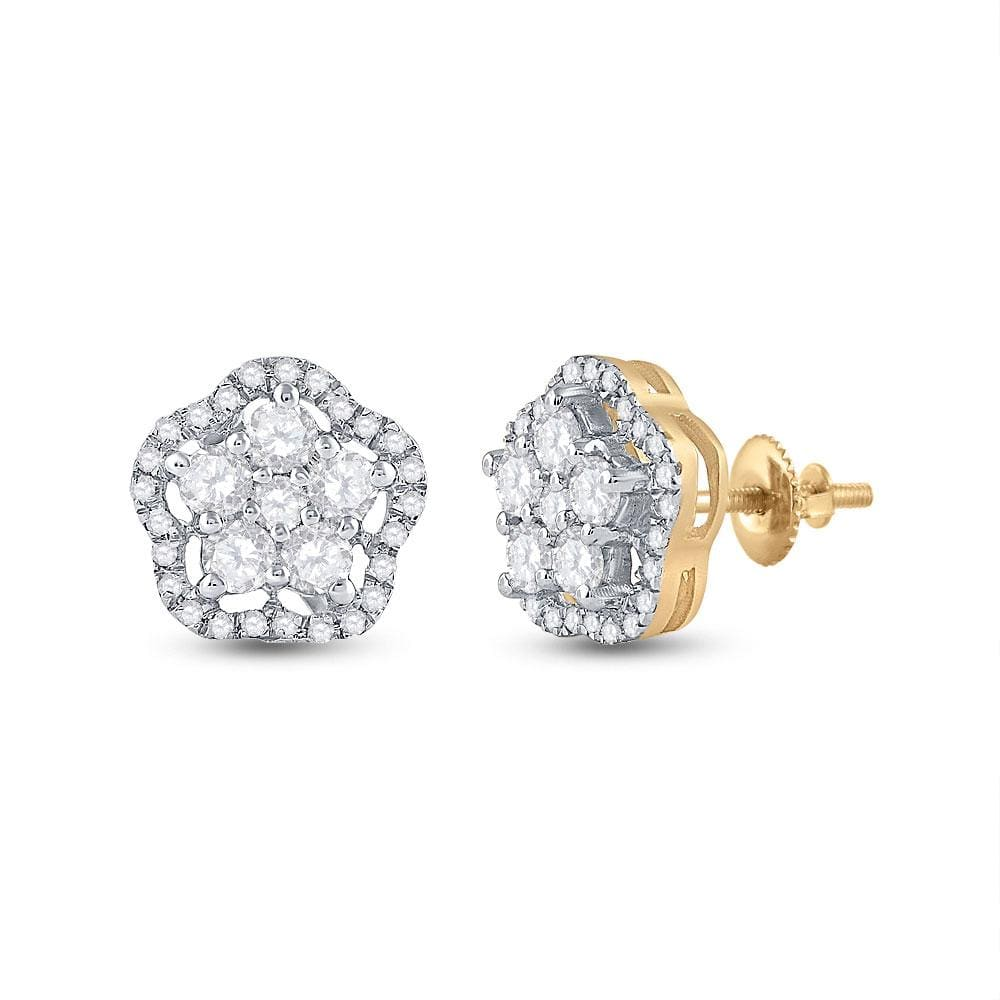 14kt Yellow Gold Womens Round Diamond Star Cluster Earrings 3/4 Cttw