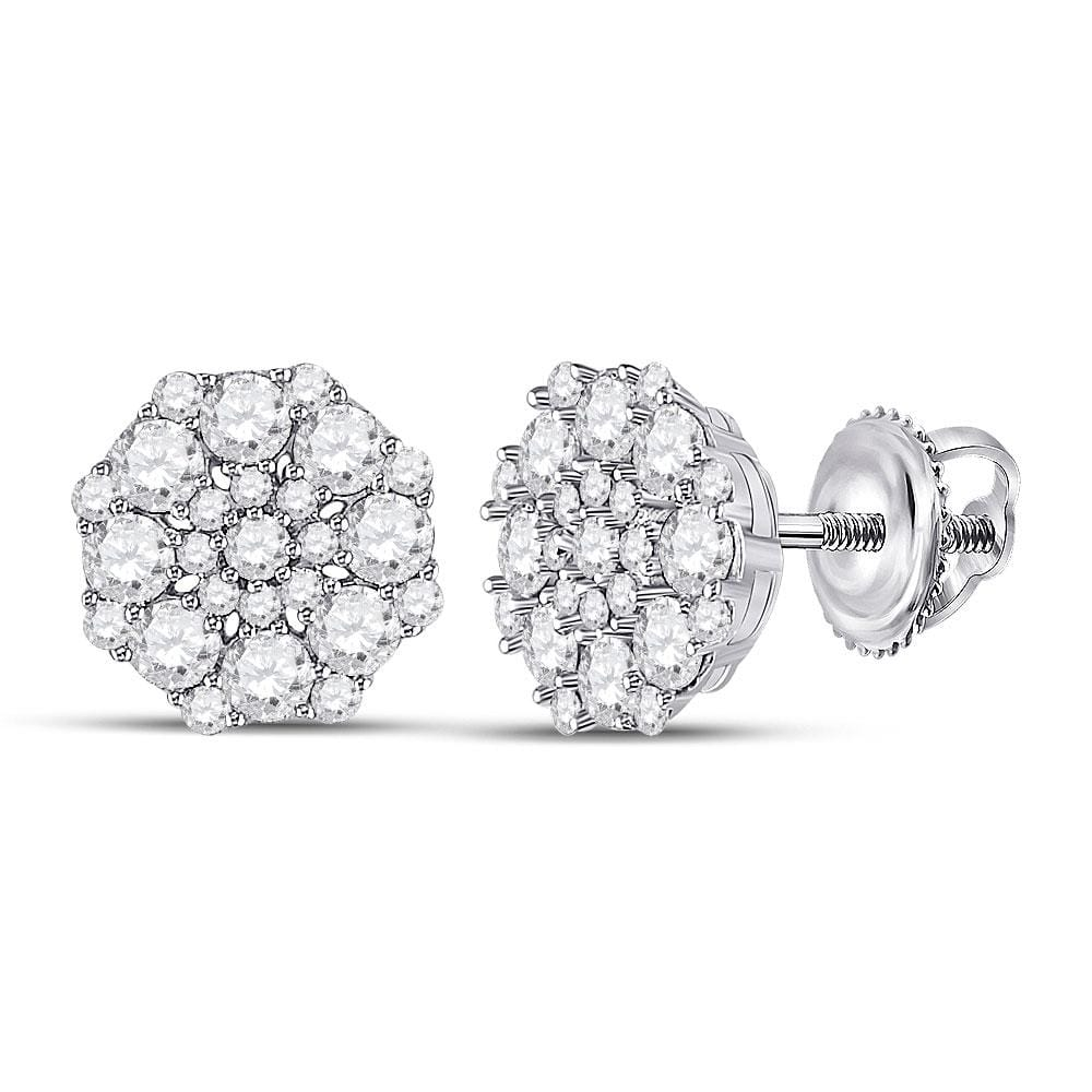 14kt White Gold Womens Round Diamond Cluster Earrings 1-1/4 Cttw