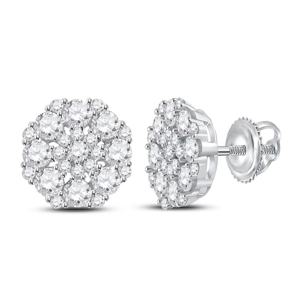 14kt White Gold Womens Round Diamond Octagon Cluster Earrings 1-5/8 Cttw