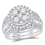 14kt White Gold Womens Round Diamond 3-Piece Bridal Wedding Engagement Ring Band Set 2-1/2 Cttw