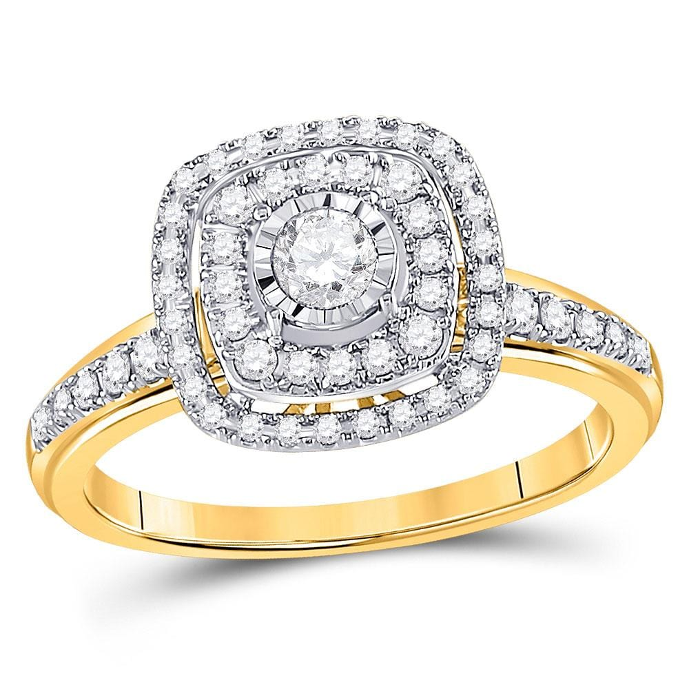 14kt Yellow Gold Round Diamond Square Bridal Wedding Engagement Ring 1/2 Cttw